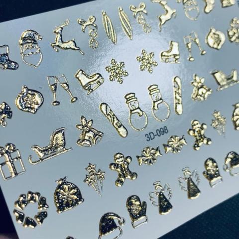 3D слайдер для ногтей новогодний микс, 3D - 098