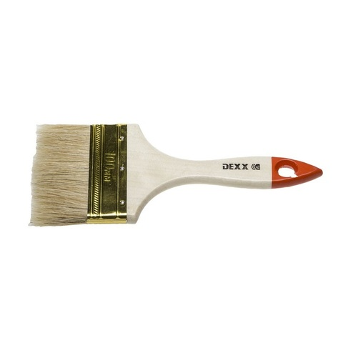 Кисть флейцевая DEXX, деревянная ручка, натуральная щетина, индивидуальная упаковка, 100мм
