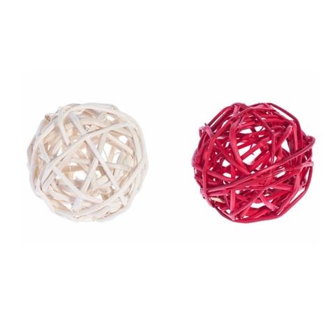 Плетеные шары из ротанга микс (набор:6 шт., d5см, цвет: красный/белый)