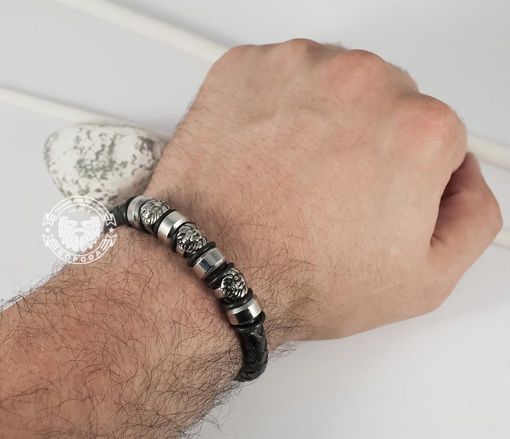 BM360 Браслет из кожи на магнитной застежке со стальными львами (21,5 см) фото 06