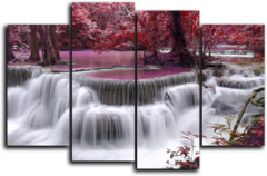 """Модульная картина """"Красный водопад"""""""