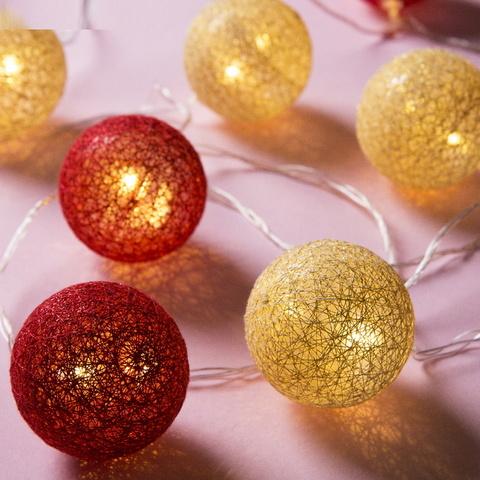 Ночник гирлянда Клубки шарики золотистые с блёстками-красные  d-6 см, 5 м