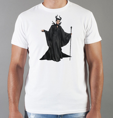 Футболка с принтом Малефисента, Анджелина Джоли (Maleficent ) белая 002