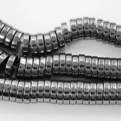 Бусина Гематит (искусств), рондель, цвет - глянцевый черный, 8х2 мм, нить