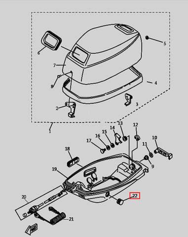 Заглушка для лодочного мотора T9.8 Sea-PRO (1-22)