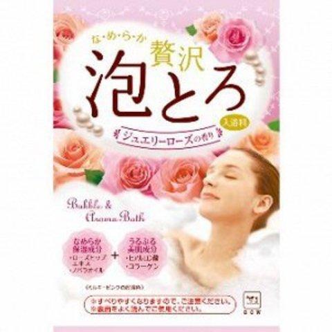 Пенящаяся соль для ванны с коллагеном и гиалуроновой кислотой Роскошная роза COW BRAND 30 гр