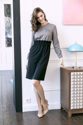 Фото двухцветное платье с завышенной талией и длинными рукавами - Платье З467-158 (1)