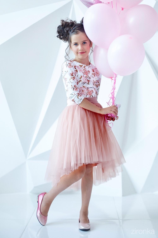 Комплект (блузка, юбка) пудровый для девочки 64-7006-5