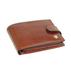 Стильный солидный мужской рыже-коричневый кошелёк бумажник портмоне из натуральной гладкой итальянской кожи с отделением для техпаспорта 027-DC13-05B в фирменной коробке