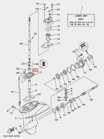 Втулка корпуса подшипника для лодочного мотора F20 Sea-PRO (23-22)