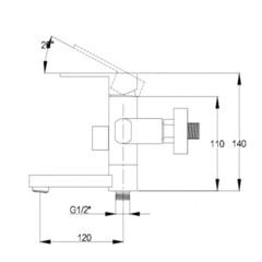 Смеситель KAISER Sharp 64022 для ванны схема