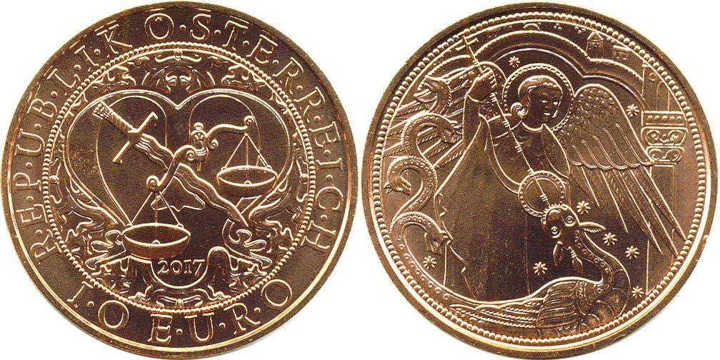 10 евро 2017 Австрия - Ангел-хранитель Михаил