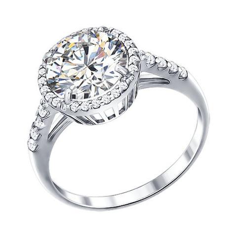 94011237- Серебряное кольцо с крупным фианитом от SOKOLOV
