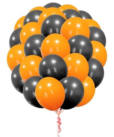 Воздушные шары с гелием Черно-оранжевые