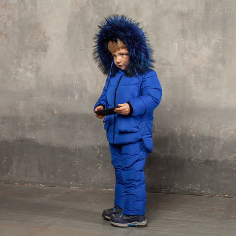 Детский зимний костюм синего цвета из водоотталкивающей плащевки
