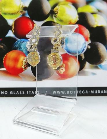 Серьги из муранского стекла со стразами Sandra Ca'D'oro Gold Topaz 008O