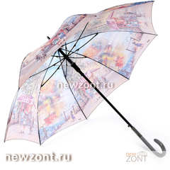 Зонт-трость женский Lamberti курортный город, полуавтоматический