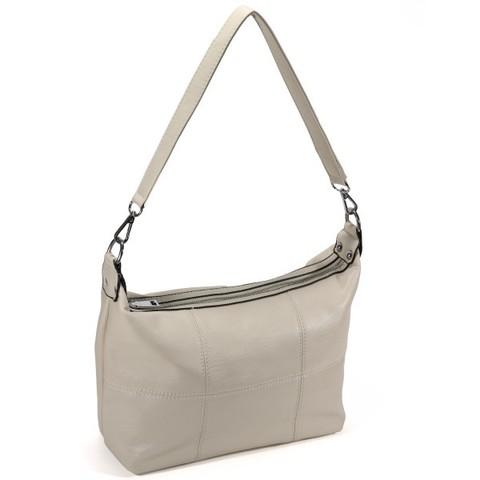 Бежевая сумка мягкой формы на плечо