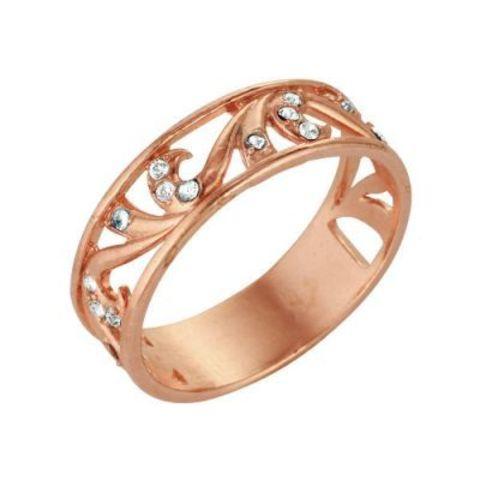Кольцо с чешским стеклом и позолотой