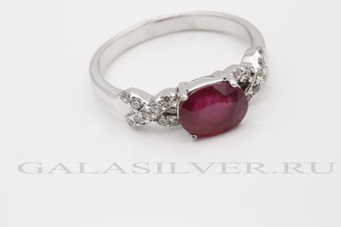 Кольцо с рубином и цирконом из серебра 925