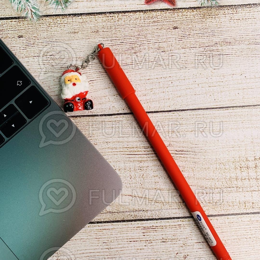 Ручка с красным Дедом Морозом сувениром шариковая на масляной основе фото