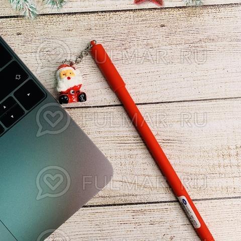 Ручка с красным Дедом Морозом сувениром шариковая на масляной основе