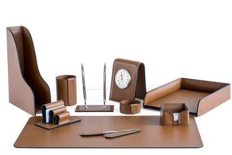 Подарочный набор руководителя, 10 предметов, кожа натуральная, цвет табак