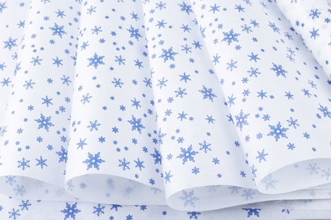 Бумага крафт белая 50г/м2, 70 см x 10 м, Снежинка, цвет: синий