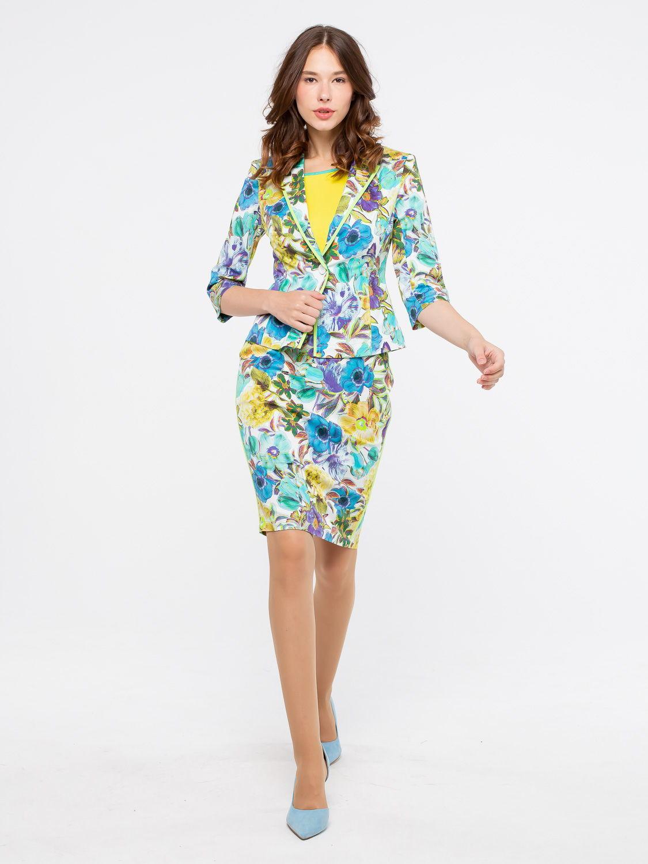 Юбка Б028-134 - Прямая летняя юбка с оригинальным цветочным принтом. По бокам прорезные карманы. Легкая и комфортная- идеальный вариант на лето.