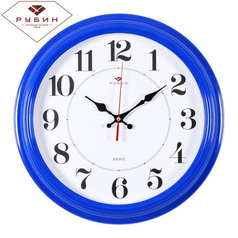 3527-135Bl (10) Часы настенные круг d=35см, рама синяя
