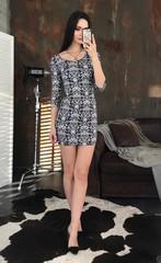 Гала. Молодежное облегающее платье мини. Сине-белый принт