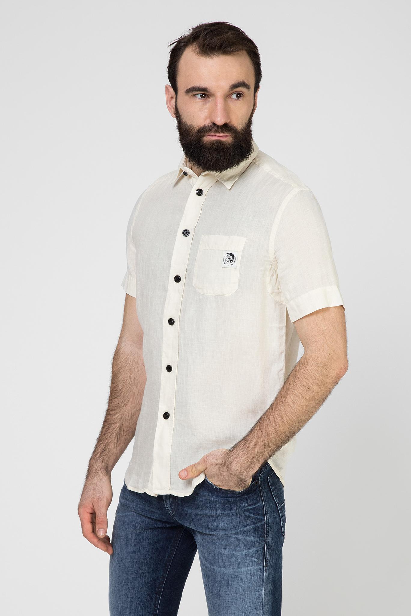 Мужская бежевая льняная рубашка S-KIRUMA Diesel