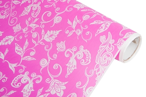 Бумага белая крафт 40гр/м2, 70см x 10м, Сказочная гжель, цвет:розовый