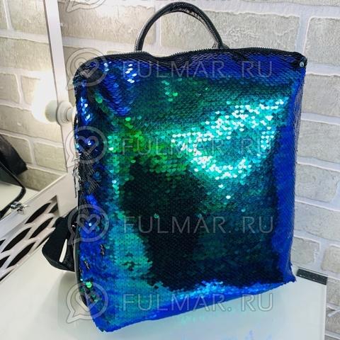 Рюкзак большой школьный для девочек прямоугольный с пайетками меняющий цвет Хамелеон-матовый Чёрный