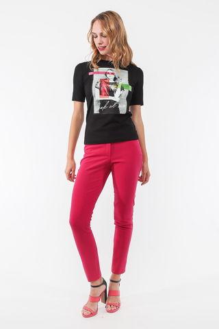 Фото ярко-розовые облегающие брюки длиной 7/8 с боковыми карманами - Брюки А505-148 (1)