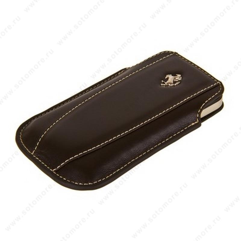 Чехол-пенал кармашек Ferrari для iPhone 4s/ 4/ iPhone 3Gs/ 3G кармашек коричневый белые нитки