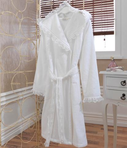 LUNA- ЛУНА  Белый махровый женский халат с капюшоном Soft Cotton (Турция)