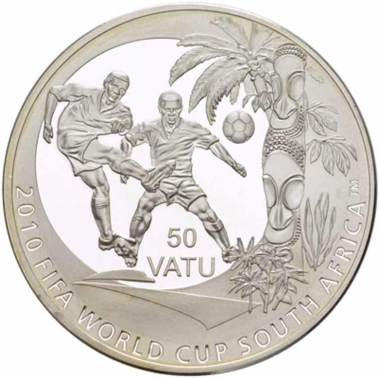 50 вату Чемпионат мира по футболу ЮАР 2010 г. Вануату 2010 г. Proof