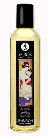 Массажное масло с ароматом лаванды Shunga Sensation - 250 мл.