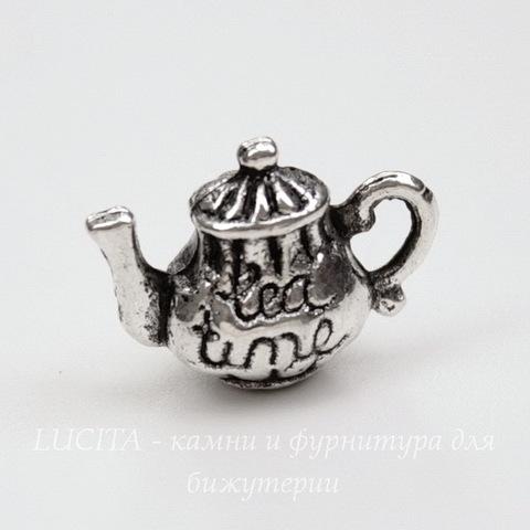 "Подвеска 3D ""Чайник"" 17х12 мм (цвет - античное серебро)"