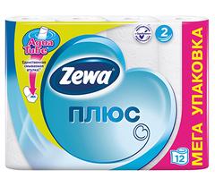Туалетная бумага Zewa плюс 2-х слойная Белая 12шт