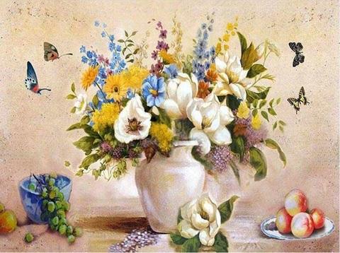 Картина раскраска по номерам 40x50 Разные цветы в белой вазе (арт. PH9268)