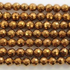 Бусина Гематит (искусств), шарик с огранкой, цвет - золотисто-коричневый, 8 мм, нить