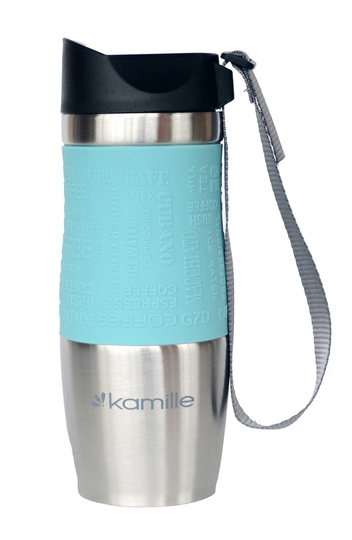 Термокружка Kamille c TPR и ремешком 380 мл. (хром) мятная