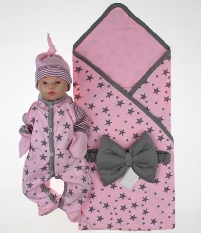 Комплект на выписку для новорожденных Лето розовый