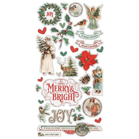 Чипборд Country Christmas Chipboard Sticker 15х30 см