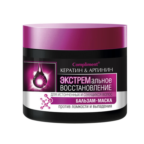 Compliment КЕРАТИН & АРГИНИН Бальзам-маска экстремальное восстановление для истонченных и секущихся волос