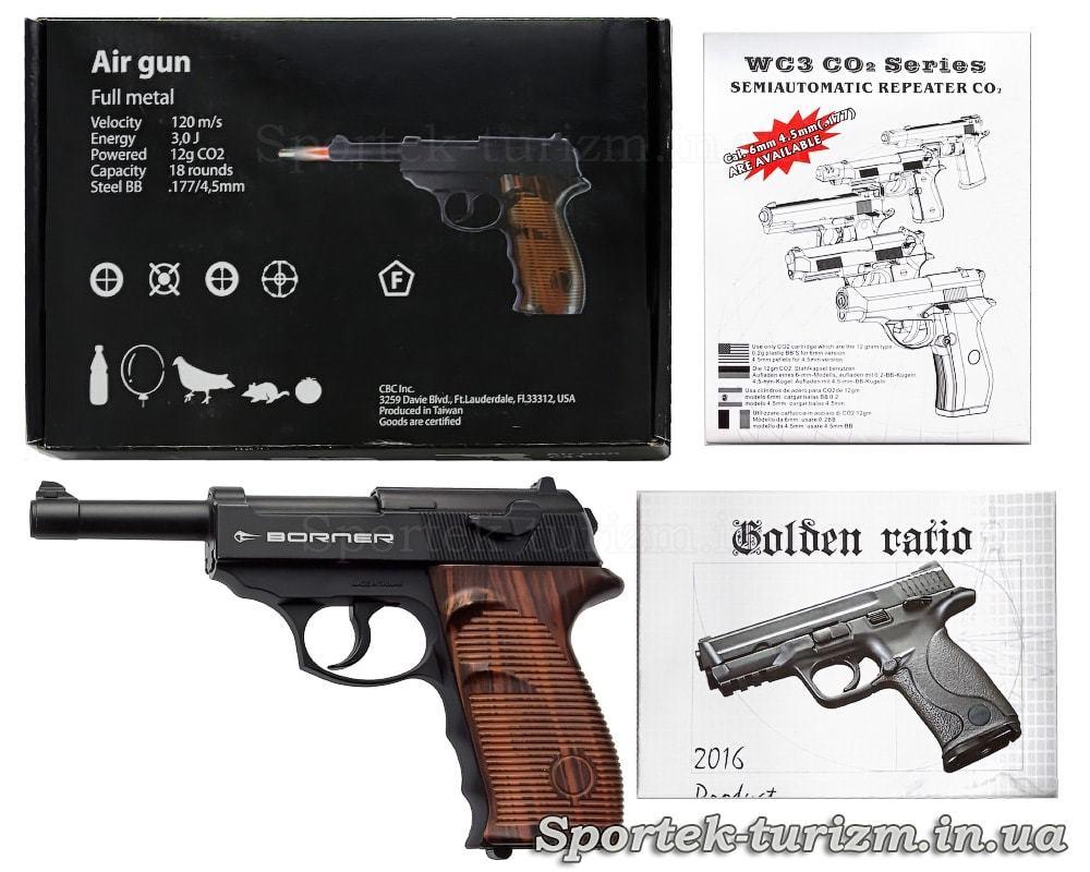 Комплектація газобалонного пневматичного пістолета Borner C41