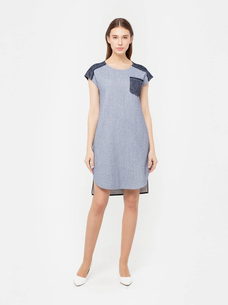 Платье З164-366 - Платье прямого силуэта в джинсовом стиле. Фигурная линия низа с округлыми разрезами. Отделка - контрастная джинса и вставки из необработанного шифона в тон. При желании линию талии можно будет подчеркнуть темно-синим или белым пояском.
