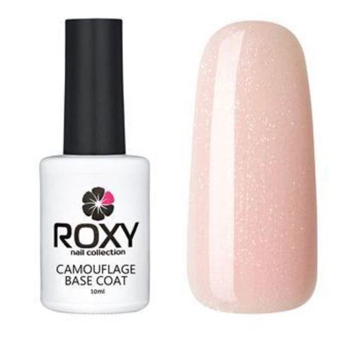 Камуфлирующее базовое покрытие ROXY nail collection К16 rubber - розовая с шиммером (10 ml)
